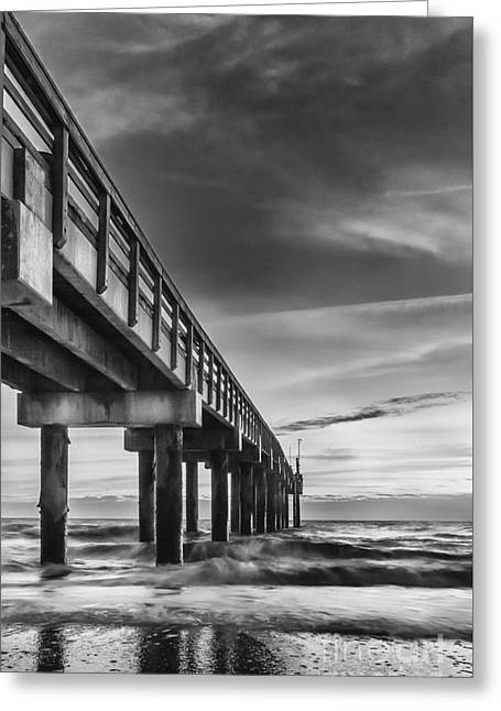 Sunrise At The Pier-bw Greeting Card by Marvin Spates
