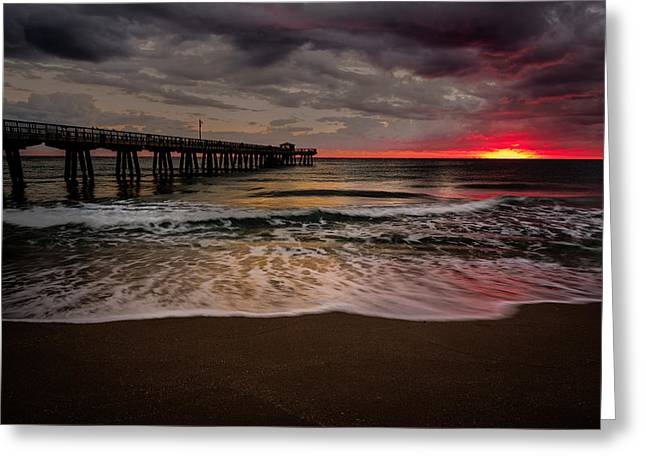 Storm Clouds Pyrography Greeting Cards - Sunrise at the Pier Greeting Card by Rick Strobaugh