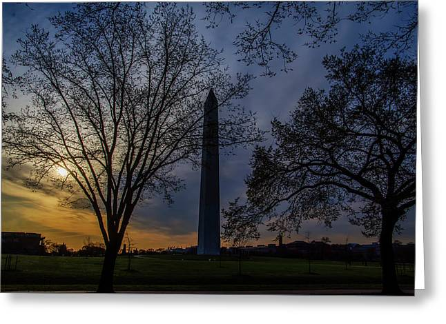 Sunrise At The Washington Monument Greeting Card by Bill Cannon