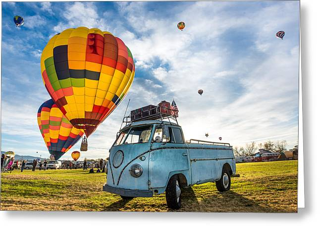 Recently Sold -  - Bay Bridge Greeting Cards - Sunrise Balloon Liftoff over VW Single Cab Greeting Card by Richard Kimbrough