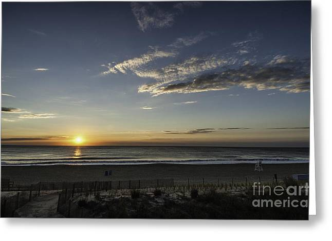 Surf City Greeting Cards - Sunrise Beach OC Greeting Card by Jim Moore