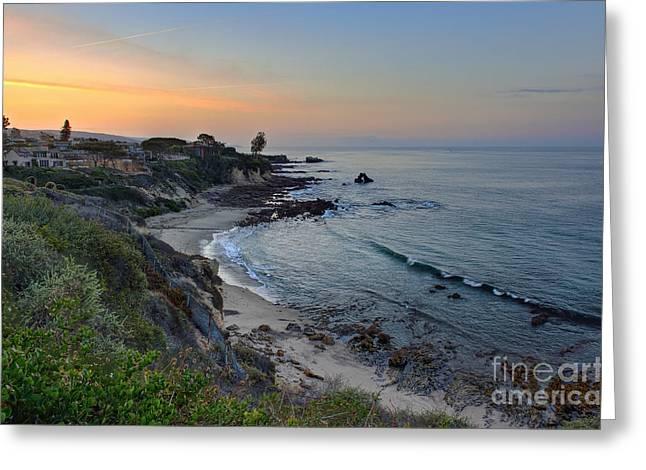 Ocean Shore Digital Greeting Cards - Sunrise Behind The Cliffs Greeting Card by Eddie Yerkish