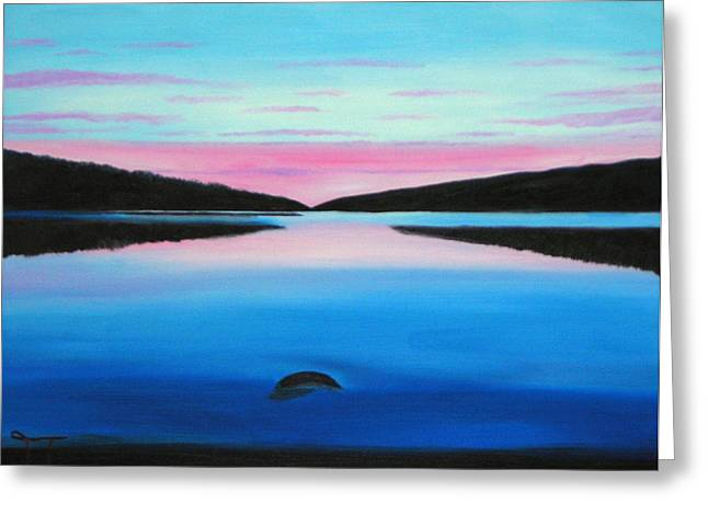 Boundary Waters Paintings Greeting Cards - Sunrise boundary waters Greeting Card by Troy Thomas
