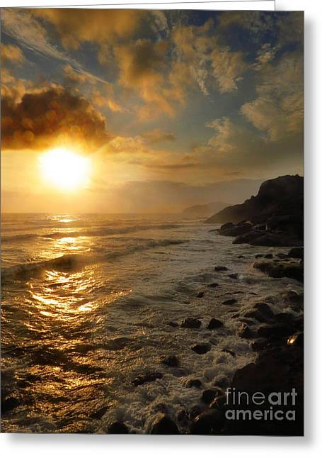 Clouds Tapestries - Textiles Greeting Cards - Sunrise by the Rocks Greeting Card by James Hennis