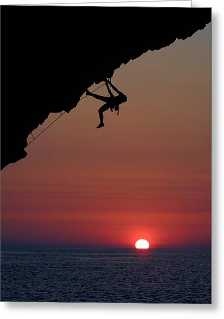 Overhang Photographs Greeting Cards - Sunrise Climber Greeting Card by Neil Buchan-Grant
