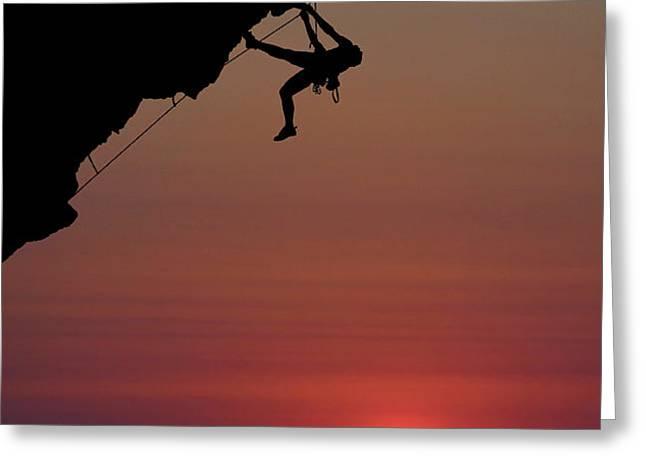 Sunrise Climber Greeting Card by Neil Buchan-Grant