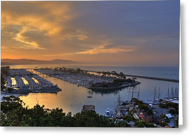 Clemente Greeting Cards - Sunrise Dana Point Harbor Greeting Card by Cliff Wassmann