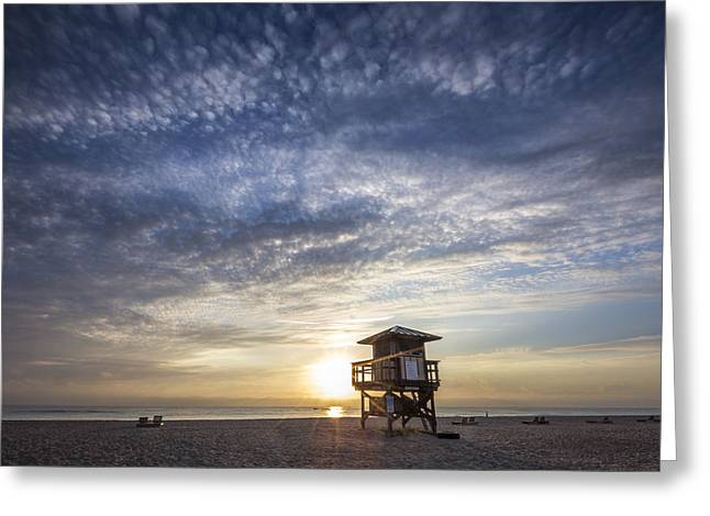 On The Beach Greeting Cards - Sunrise   Greeting Card by Debra and Dave Vanderlaan