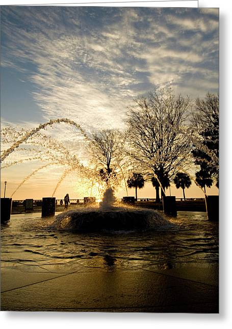Lanscape Greeting Cards - Sunrise Fountain II Greeting Card by Tom Rickborn