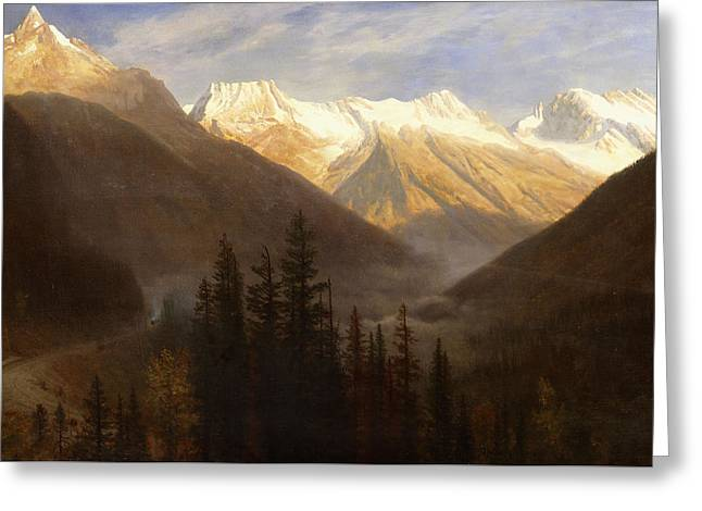 Snow Capped Greeting Cards - Sunrise from Glacier Station Greeting Card by Albert Bierstadt