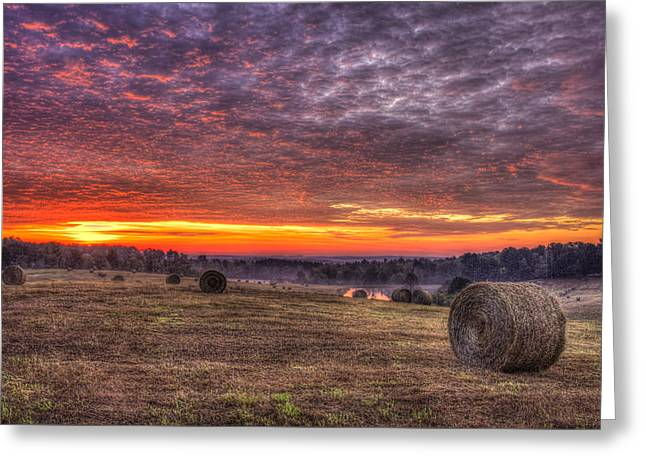 Pastureland Greeting Cards - Sunrise Hayfield Walker Church Road Valley Greeting Card by Reid Callaway