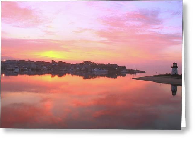 Sunrise Hyannis Harbor Greeting Card by Roupen  Baker