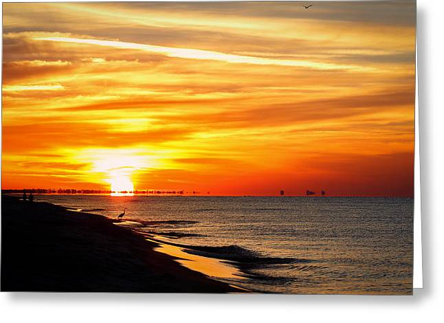 Reflection In Water Greeting Cards - Sunrise in August Greeting Card by Gary Oliver
