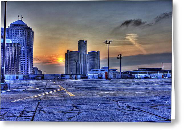 Recently Sold -  - Lions Greeting Cards - Sunrise in Detroit MI Greeting Card by Nicholas  Grunas