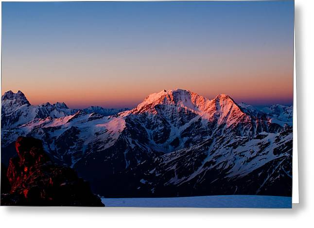 Alpine Skiing Prints Greeting Cards - Sunrise in mountains Greeting Card by Iurii Zaika