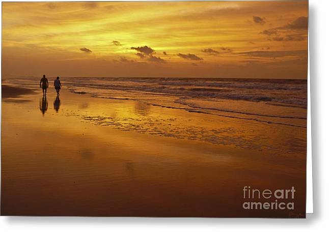 Sunrise On Beach Greeting Cards - Sunrise in Orange Greeting Card by Jeff Breiman