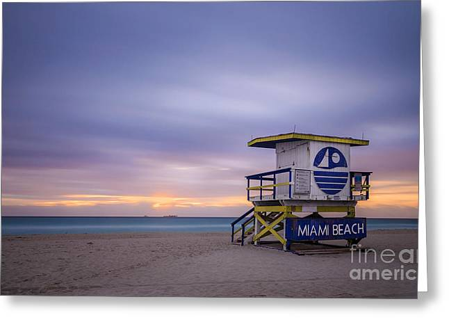 South Beach Greeting Cards - Sunrise In Paradise Greeting Card by Evelina Kremsdorf