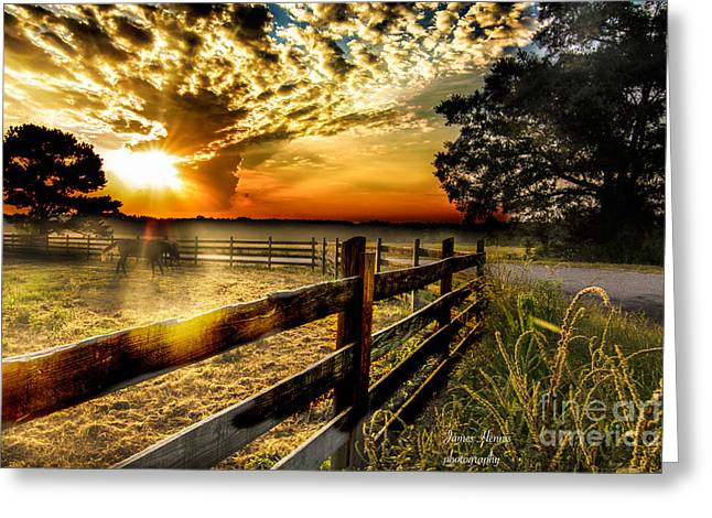 Clouds Tapestries - Textiles Greeting Cards - Sunrise in Summer Greeting Card by James Hennis