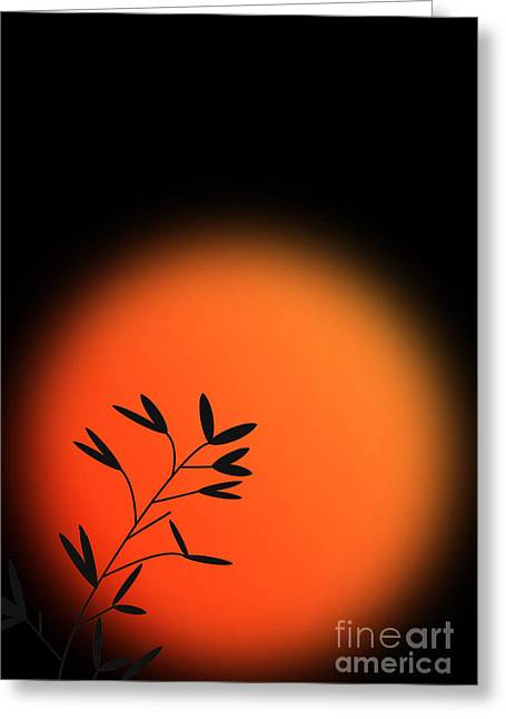 Bamboo Mixed Media Greeting Cards - Sunrise in The Far East Greeting Card by Heinz G Mielke