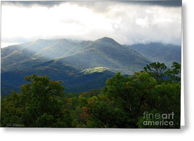 Fall Trees Greeting Cards - Sunrise In The Smokies Greeting Card by Sabrina Wheeler