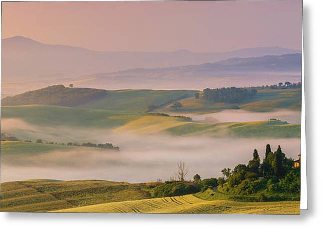 Sunrise In The Tuscany Greeting Card by Henk Meijer Photography