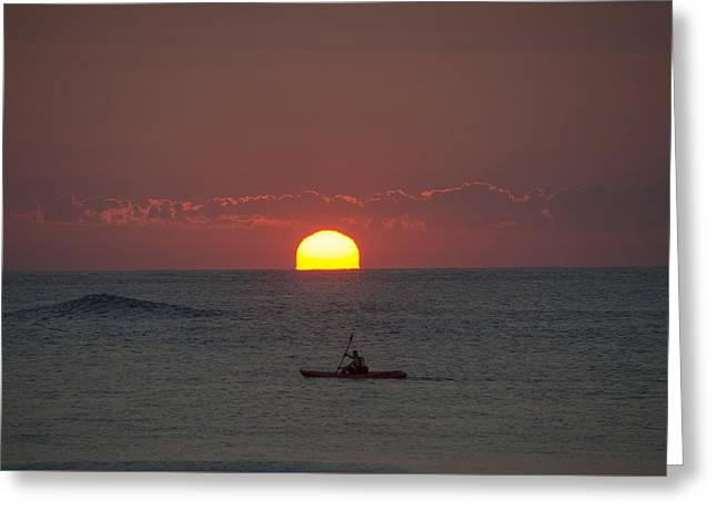 Ocean Photography Greeting Cards - Sunrise- Kayaking in Ocean City Greeting Card by Bill Cannon