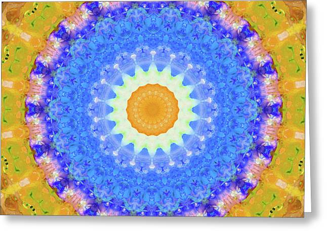 Sunrise Mandala Art - Sharon Cummings Greeting Card by Sharon Cummings