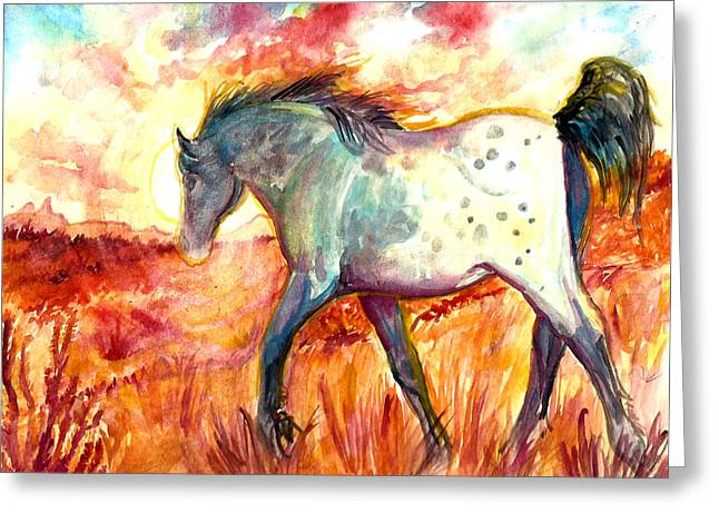 Jenn Cunningham Greeting Cards - Sunrise Mare Greeting Card by Jenn Cunningham