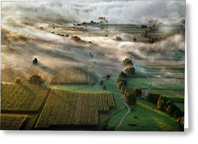 Fog Greeting Cards - Sunrise Greeting Card by Matjaz Cater