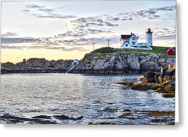 Sunrise Nubble Lighthouse - York - Maine Greeting Card by Steven Ralser
