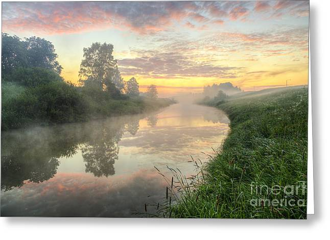 Field. Cloud Greeting Cards - Sunrise on a misty river Greeting Card by Veikko Suikkanen