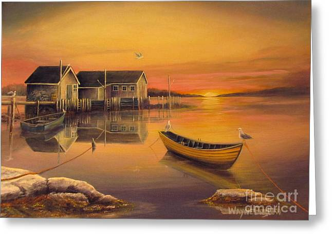 Sunrise On Blue Rocks Greeting Card by Wayne Enslow