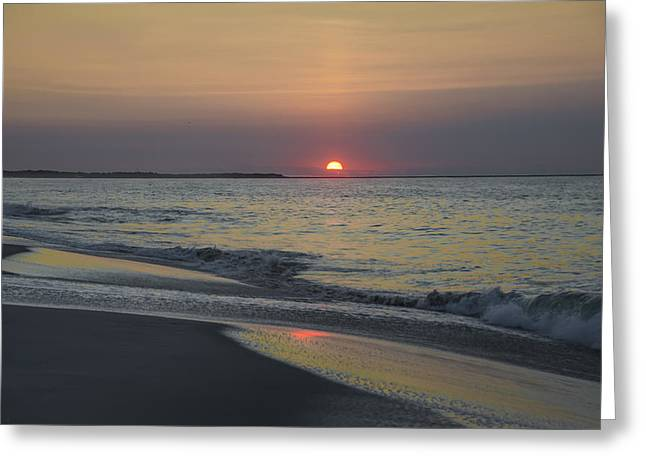Beach Greeting Cards - Sunrise on Cape May Inlet Greeting Card by Bill Cannon