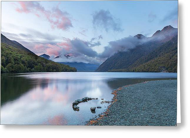 Snow Scene Landscape Greeting Cards - Sunrise on Lake Gunn in Fiordland New Zealand Greeting Card by Greg Brave