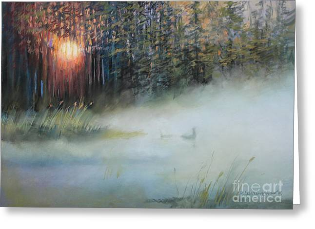 Fog Pastels Greeting Cards - Sunrise On Loon Lake Greeting Card by Delores Herringshaw
