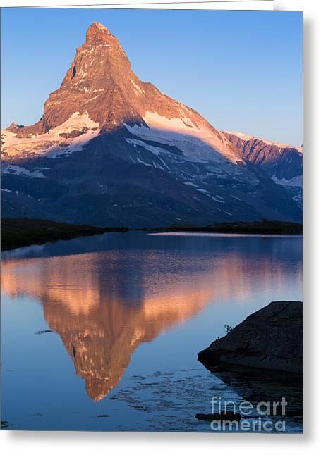 Swiss Photographs Greeting Cards - Sunrise on Matterhorn Greeting Card by Alberto Perer