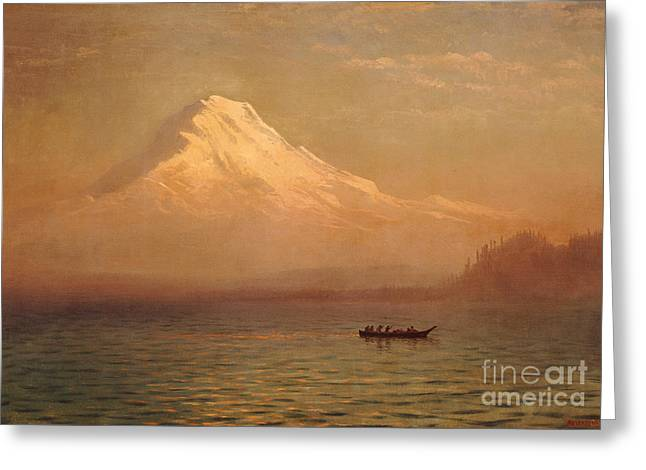 Washington State Greeting Cards - Sunrise on Mount Tacoma  Greeting Card by Albert Bierstadt