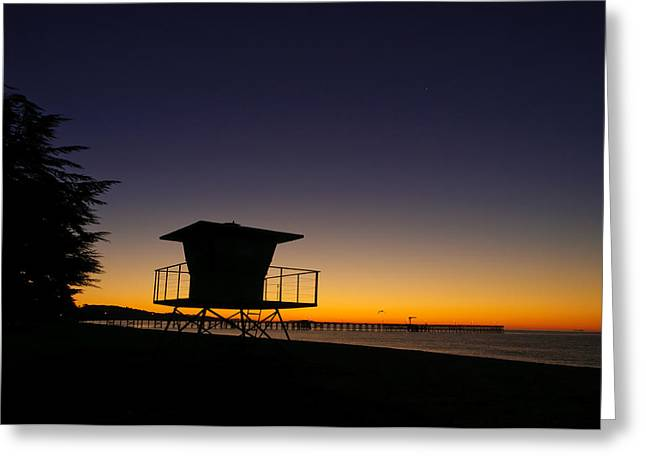 Santa Barbara Pier Greeting Cards - Sunrise on the Beach Greeting Card by Connie Cooper-Edwards