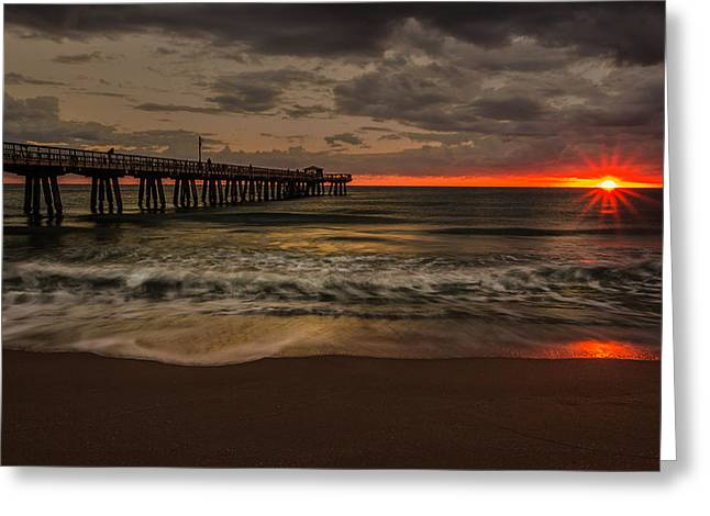 Storm Clouds Pyrography Greeting Cards - Sunrise on the Beach Greeting Card by Rick Strobaugh