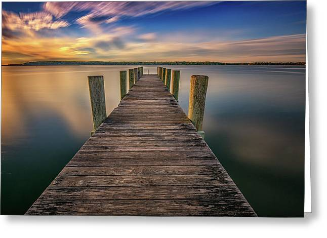 Sunrise On The Dock By The Peconic River Greeting Card by Rick Berk