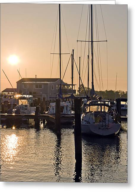 Docked Sailboat Greeting Cards - Sunrise on the Eastern Shore of Maryland Greeting Card by Brendan Reals