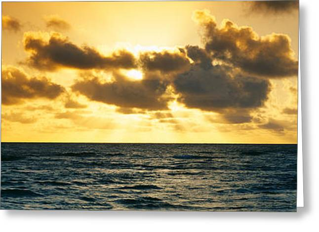 Landforms Greeting Cards - Sunrise On The Pacific Ocean At Hawaii Greeting Card by Panoramic Images