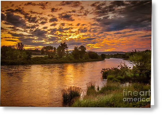 Haybales Greeting Cards - Sunrise On The Payette River Greeting Card by Robert Bales