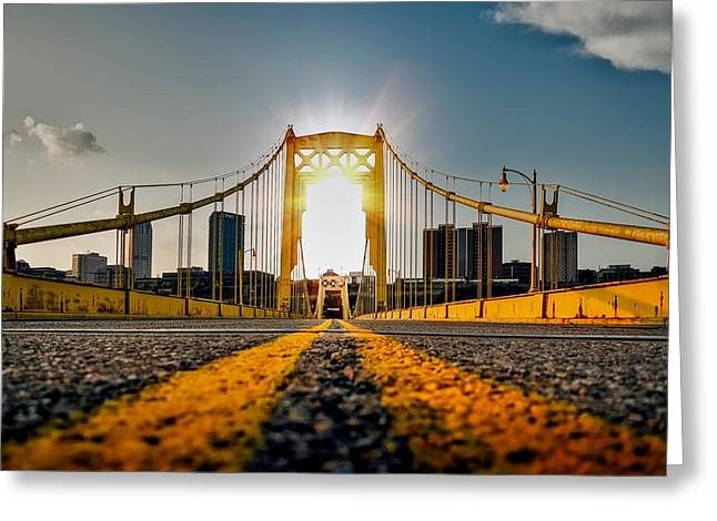 Sunrise On The Roberto Clemente Bridge Greeting Card by Mountain Dreams