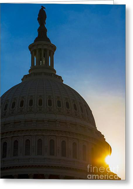 United States Capitol Greeting Cards - Sunrise on the United States Capitol Building  Greeting Card by Diane Diederich