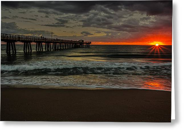 Storm Clouds Pyrography Greeting Cards - Sunrise on the Water Greeting Card by Rick Strobaugh