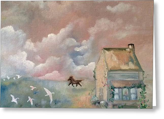 Old Home Place Paintings Greeting Cards - Sunrise On Uncle Lees Place Greeting Card by Jennifer Buerkle