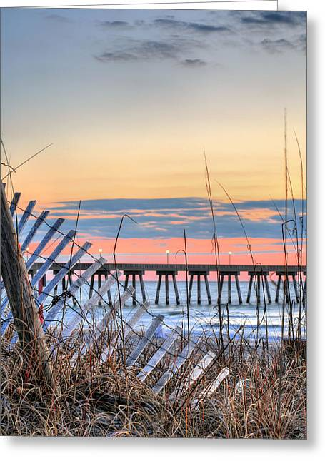 Sea Oats Greeting Cards - Sunrise on Wrightsville Beach Greeting Card by JC Findley