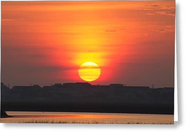 Ocean Art Photos Greeting Cards - Sunrise over a Sleepy Coastal Town Greeting Card by Brian Hamilton