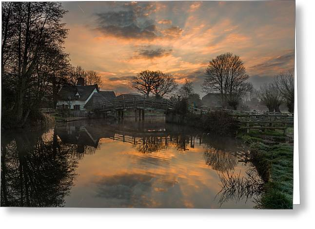 Constable Greeting Cards - Sunrise over Bridge Cottage Greeting Card by Nick Rowland